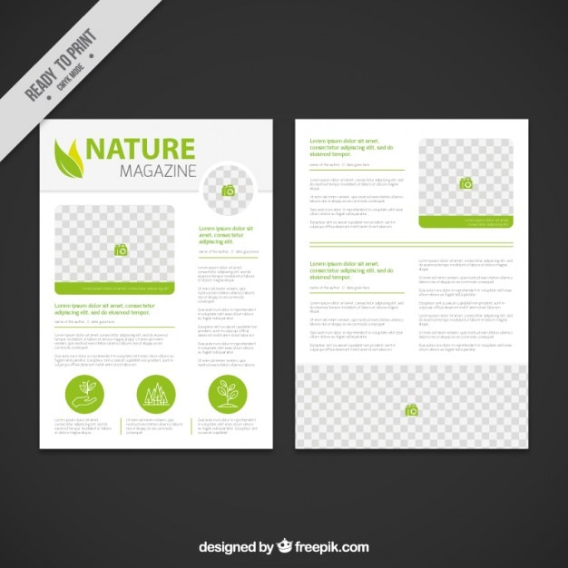 Nature magazine template with green details Vector | Free Download