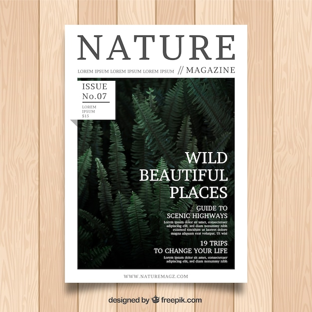 Nature magazine template Free Vector