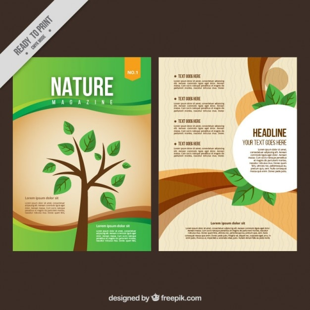 Nature magazine with a tree cover Free Vector