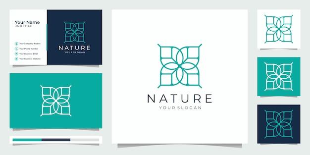 Nature minimalist simple and elegant floral monogram template, elegant line art logo design,business card vector illustration. Premium Vector