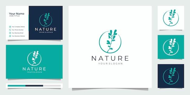 Nature minimalist simple and elegant floral monogram template Premium Vector