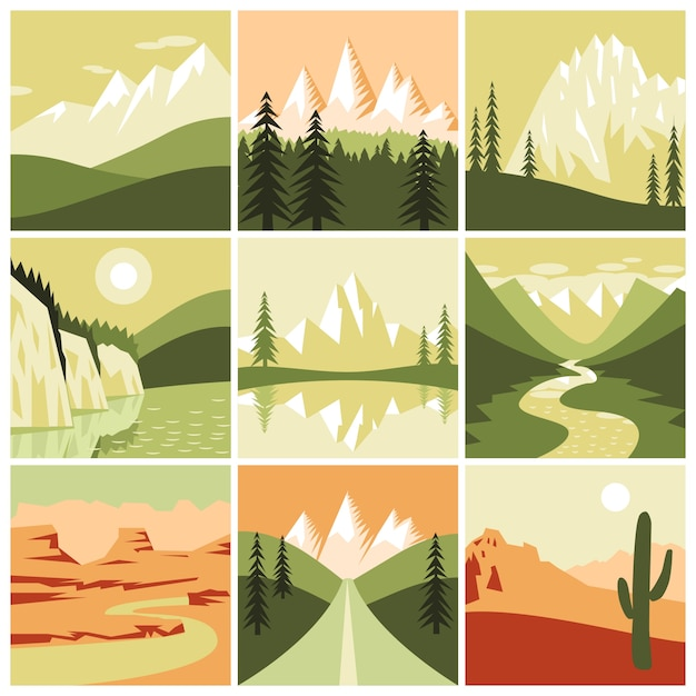 Nature mountain icons Free Vector