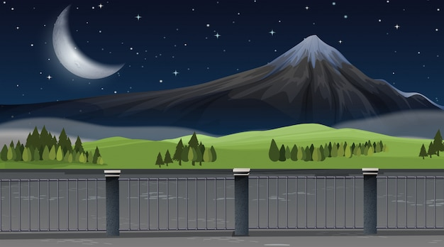 A nature mountain landscape background Free Vector