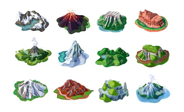 Natura paesaggi di montagna con monti vulcani colline scogliere rocce picchi di diverso rilievo isolato Vettore gratuito