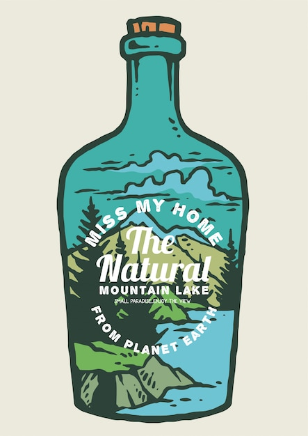 Nature and mountains inside bottle Premium Vector