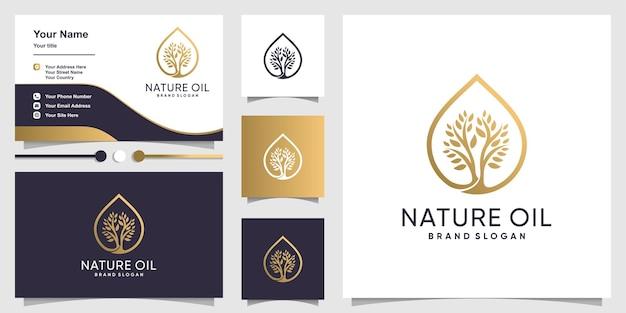 Логотип природного масла с современной концепцией дерева и дизайном визитной карточки Premium векторы