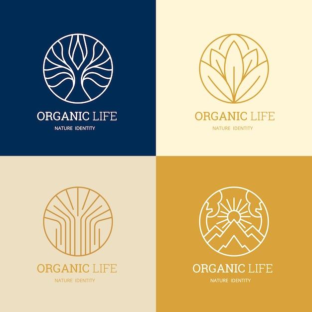 Шаблоны логотипов nature и organic Premium векторы