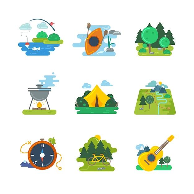 Natura, attività all'aria aperta e foresta. avventura all'aria aperta, escursionismo e orienteering, viaggi in bicicletta, illustrazione vettoriale Vettore gratuito