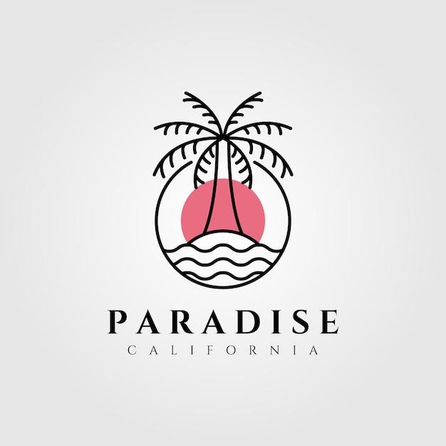 Nature palm tree logo  coconut line art minimalist emblem illustration Premium Vector