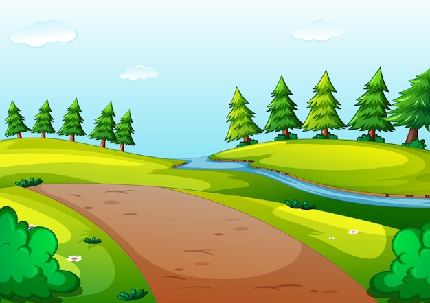 Nature park cartoon style scene Free Vector