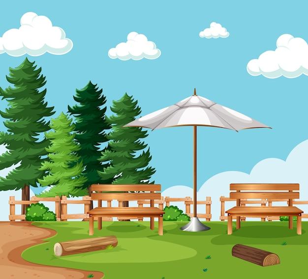 自然公園ピクニック空のシーン 無料ベクター