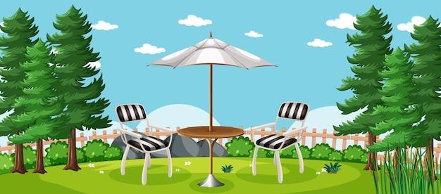 Пустая сцена пикник в природном парке Бесплатные векторы