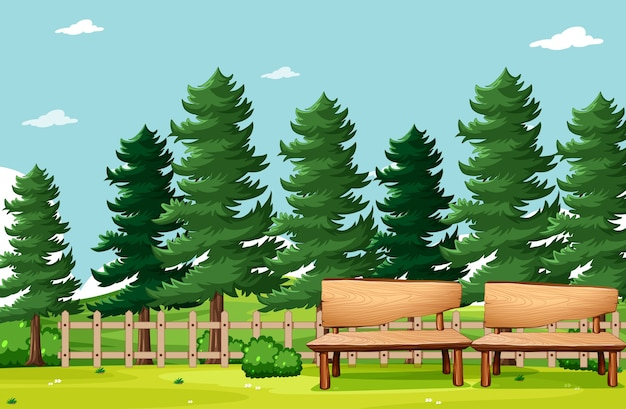 自然公園のピクニック空のシーン 無料ベクター