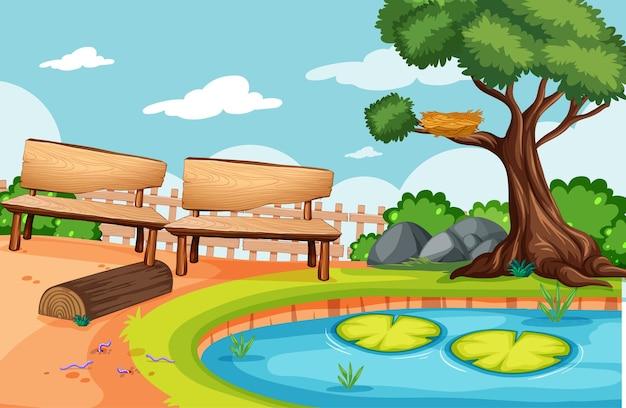 Scena vuota di picnic del parco naturale Vettore gratuito