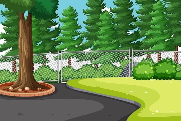 큰 소나무가 많은 자연 공원 현장 무료 벡터