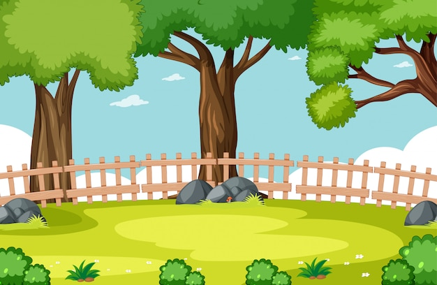 Nature park scene with sky and fence Free Vector