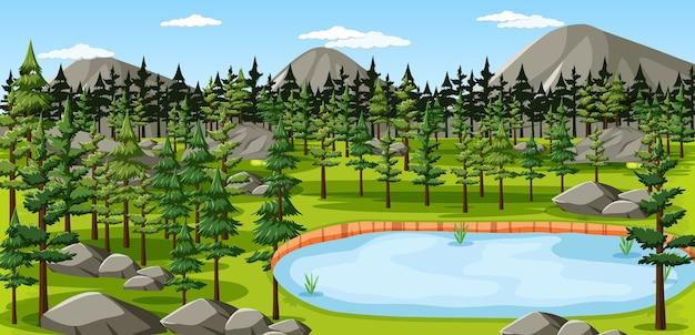 湖の風景のシーンと自然公園 無料ベクター