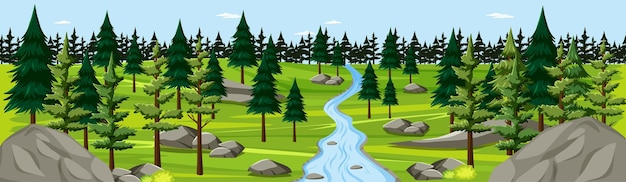 Nature park with river landscape panorama scene Free Vector