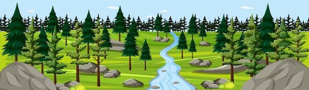 川の風景のパノラマシーンと自然公園 無料ベクター