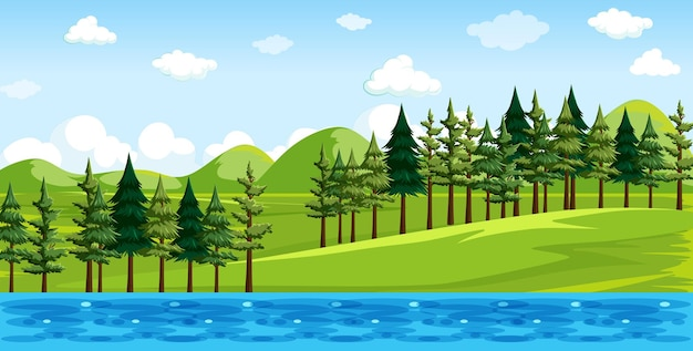 Nature park with river side landscape scene Free Vector