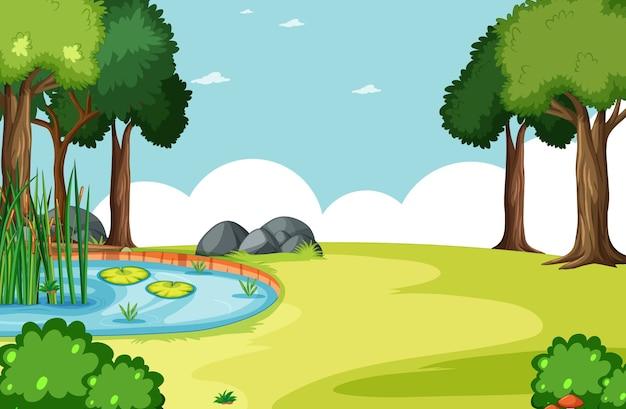Parco naturale con scena di palude Vettore gratuito