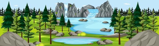 滝の風景のパノラマシーンと自然公園 無料ベクター