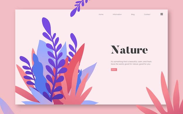 Nature and plants informational website graphic Free Vector