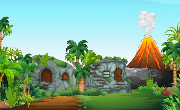 A nature prehistoric scene Free Vector