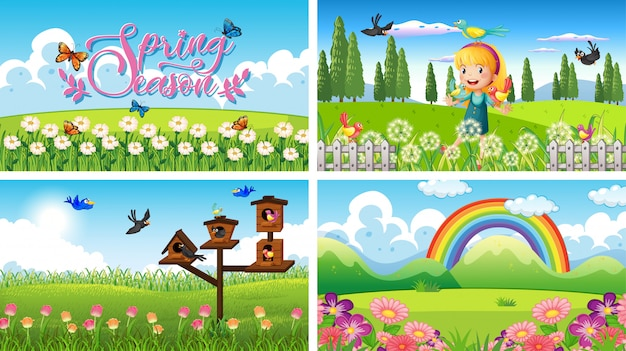 Nature scene background with girl and birds in the garden Free Vector