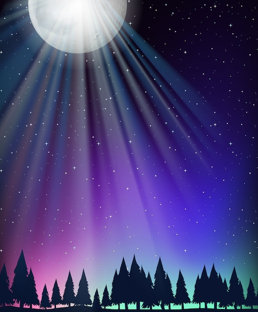 Nature scene background with moon and stars Free Vector
