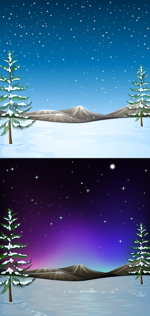 Nature scene background with snow falling Free Vector