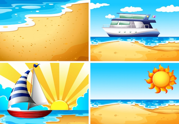 Nature scene backgrounds with beach and ocean Free Vector