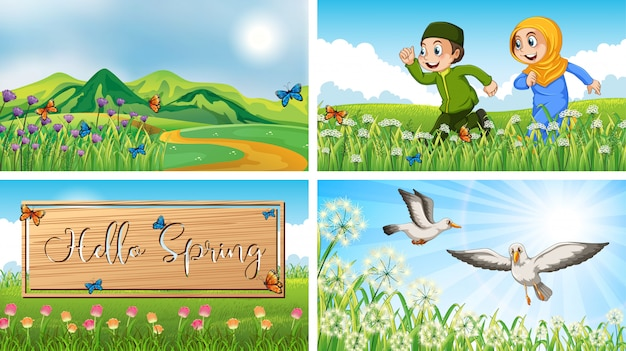 Nature scene backgrounds with children and birds in the park Free Vector