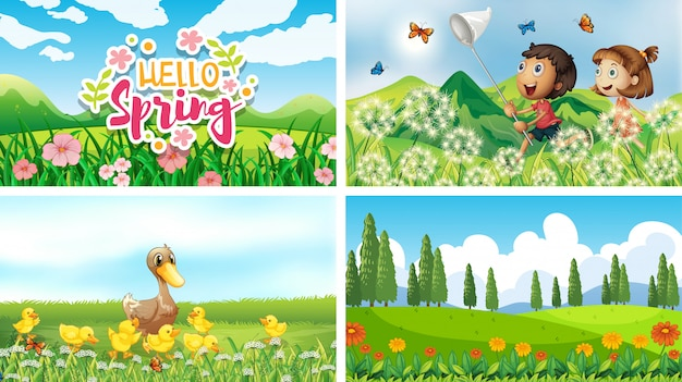 Nature scene backgrounds with kids and animals in the park Free Vector