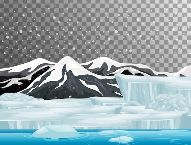 Природа сцена в теме зимнего сезона с прозрачным фоном Бесплатные векторы