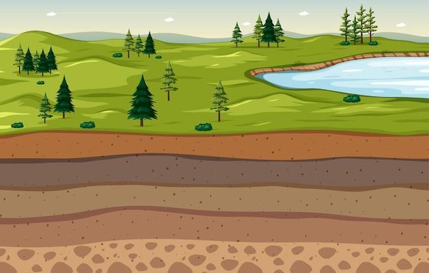 Paesaggio della scena della natura con strati di terreno Vettore gratuito