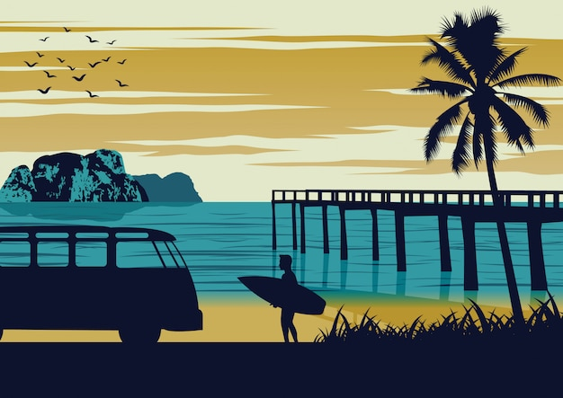 Nature scene of sea in summer,man hold surfboard near beach and wooden port,vintage color design Premium Vector