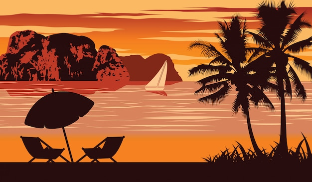 Nature scene of sea in summer Premium Vector