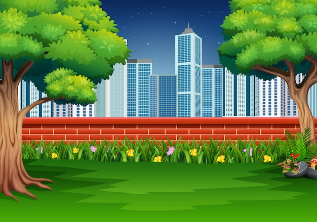 Nature scene with a brick fence in the city park Premium Vector