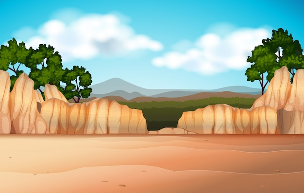 Nature scene with desert field and canyons Free Vector