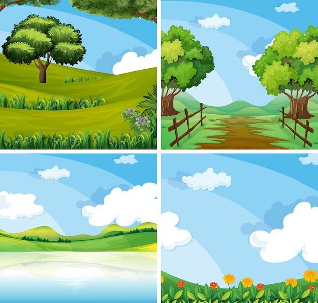 Nature scene with field and lake illustration Free Vector