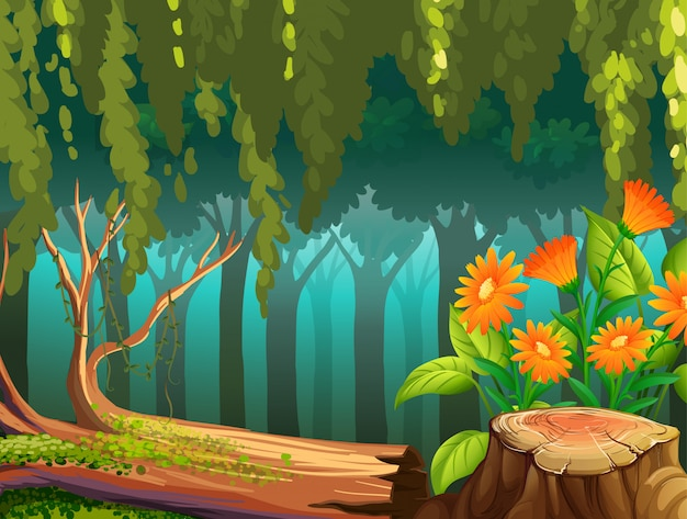 Nature scene with flowers in forest Free Vector