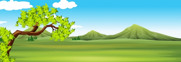 Nature scene with green field Free Vector
