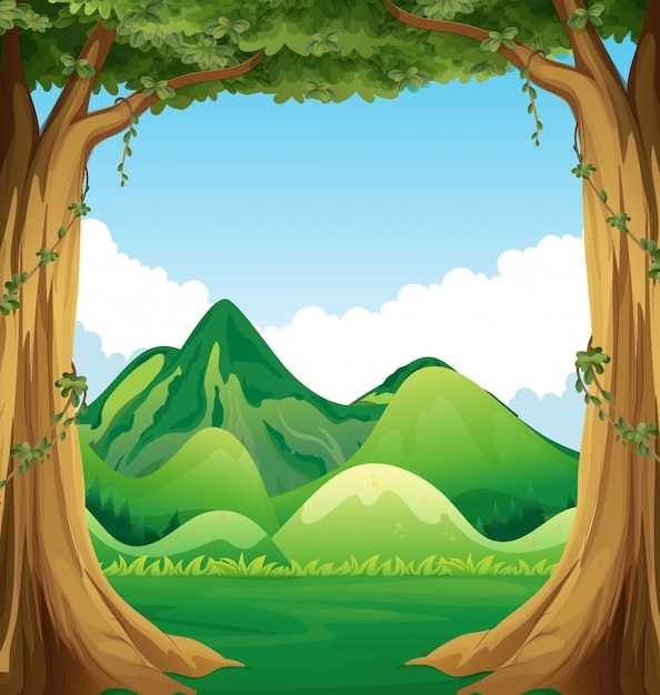 Nature scene with hills background\ illustration