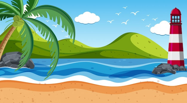 Nature scene with lighthouse by the shore Premium Vector