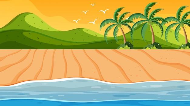 Nature scene with ocean at sunset Premium Vector