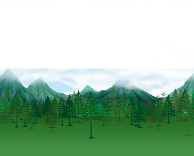 Nature scene with pine trees and mountains Free Vector