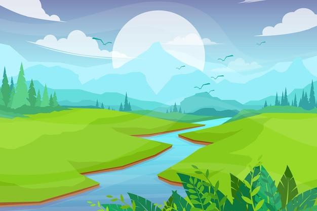 강과 언덕, 숲과 산, 풍경 평면 만화 스타일 일러스트와 함께 자연 현장 무료 벡터