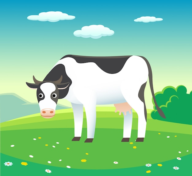 Nature summer landscape with cow in meadow Premium Vector