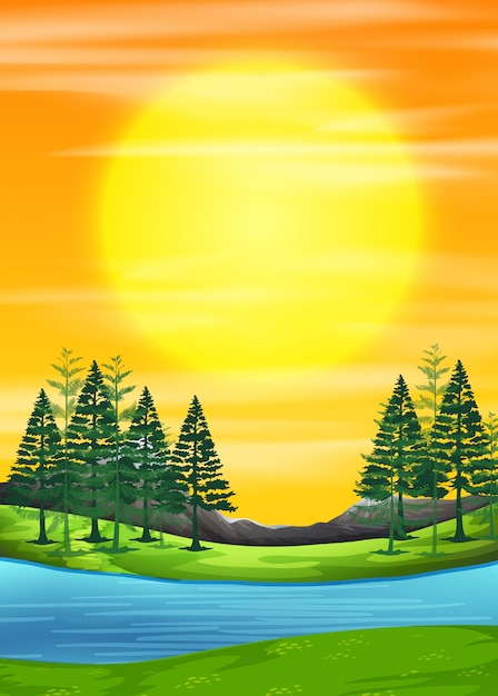 A nature sunrise scene Free Vector